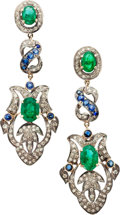 Estate Jewelry:Earrings, Emerald, Sapphire, Diamond, Silver-Topped Gold Earrings. ...