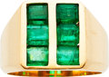 Estate Jewelry:Rings, Gentleman's Emerald, Gold Ring. ...
