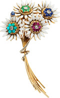 Estate Jewelry:Brooches - Pins, Multi-Stone, Diamond, Enamel, Gold Brooch. ...