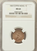 Indian Cents: , 1864 1C Copper-Nickel MS64 NGC. NGC Census: (393/127). PCGSPopulation (490/131). Mintage: 13,740,000. Numismedia Wsl. Pric...