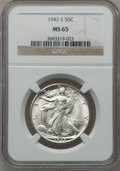 Walking Liberty Half Dollars, (2)1942-S 50C MS65 NGC. ... (Total: 2 coins)