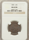 Half Cents: , 1835 1/2 C MS62 Brown NGC. NGC Census: (111/293). PCGS Population(82/256). Mintage: 398,000. Numismedia Wsl. Price for pro...