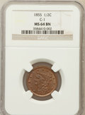 Half Cents: , 1855 1/2 C MS64 Brown NGC. C-1. NGC Census: (176/87). PCGSPopulation (113/37). Mintage: 56,500. Numismedia Wsl. Price for...