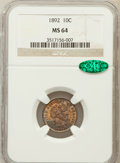 Barber Dimes: , 1892 10C MS64 NGC. CAC. NGC Census: (334/216). PCGS Population(317/202). Mintage: 12,121,245. Numismedia Wsl. Price for pr...