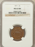 Two Cent Pieces: , 1871 2C MS63 Brown NGC. NGC Census: (54/104). PCGS Population(65/50). Mintage: 721,100. Numismedia Wsl. Price for problem ...