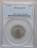 Shield Nickels: , 1870 5C AU55 PCGS. PCGS Population (12/200). NGC Census: (5/175).Mintage: 4,806,000. Numismedia Wsl. Price for problem fre...
