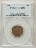 Indian Cents: , 1866 1C MS62 Brown PCGS. PCGS Population (26/120). NGC Census:(49/184). Mintage: 9,826,500. Numismedia Wsl. Price for prob...