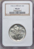 Commemorative Silver: , 1926-S 50C Oregon MS64 NGC. NGC Census: (775/1727). PCGS Population(1387/1483). Mintage: 83,055. Numismedia Wsl. Price for...