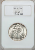 Walking Liberty Half Dollars: , 1942-D 50C MS65 NGC. NGC Census: (1537/1008). PCGS Population(2780/1251). Mintage: 10,973,800. Numismedia Wsl. Price for p...