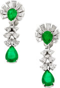 Estate Jewelry:Earrings, Emerald, Diamond, Platinum, White Gold Earrings. ...