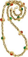 Estate Jewelry:Necklaces, Carnelian, Chrysoprase, Gold Necklace. ...