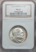 Commemorative Silver: , 1936 50C Robinson MS65 NGC. NGC Census: (784/233). PCGS Population(1057/480). Mintage: 25,265. Numismedia Wsl. Price for p...