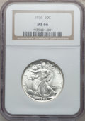 Walking Liberty Half Dollars: , 1936 50C MS66 NGC. NGC Census: (572/105). PCGS Population(786/130). Mintage: 12,617,901. Numismedia Wsl. Price forproblem...