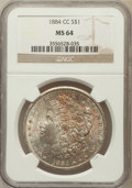 Morgan Dollars: , 1884-CC $1 MS64 NGC. NGC Census: (7739/5058). PCGS Population(15210/8548). Mintage: 1,136,000. Numismedia Wsl. Price for p...