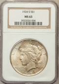 Peace Dollars: , 1924-S $1 MS63 NGC. NGC Census: (740/951). PCGS Population(1417/1262). Mintage: 1,728,000. Numismedia Wsl. Price for probl...