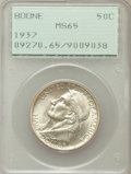 Commemorative Silver: , 1937 50C Boone MS65 PCGS. PCGS Population (755/469). NGC Census:(555/314). Mintage: 9,810. Numismedia Wsl. Price for probl...