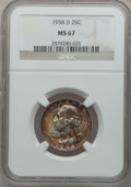 Washington Quarters: , 1958-D 25C MS67 NGC. NGC Census: (248/1). PCGS Population (118/0).Mintage: 78,124,896. Numismedia Wsl. Price for problem f...