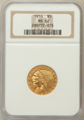 Indian Half Eagles: , 1910 $5 MS62 NGC. NGC Census: (2036/1265). PCGS Population(1479/844). Mintage: 604,250. Numismedia Wsl. Price for problem ...