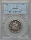 Seated Quarters: , 1854 25C Arrows XF45 PCGS. PCGS Population (64/415). NGC Census:(52/415). Mintage: 12,380,000. Numismedia Wsl. Price for p...