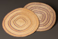 American Indian Art:Baskets, TWO NOOTKA/MAKAH POLYCHROME TWINED MATS... (Total: 2 Items)