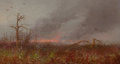 Fine Art - Painting, American:Antique  (Pre 1900), AMERICAN SCHOOL (19th Century). Forest Fire, circa 1870-80.Oil on panel. 6 x 11 inches (15.2 x 27.9 cm). THE JEAN AND...