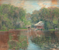 Fine Art - Work on Paper:Drawing, ARTHUR CLIFTON GOODWIN (American, 1864-1929). Boathouse by theWater, 1911. Pastel on paper. 17-1/4 x 21-1/2 inches (43....