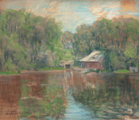 ARTHUR CLIFTON GOODWIN (American, 1864-1929) Boathouse by the Water, 1911 Pastel on paper 17-1/4
