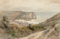 Fine Art - Painting, American:Antique  (Pre 1900), JAMES DAVID SMILLIE (American, 1833-1909). The Cliffs atEtretat, 1884. Watercolor on paper. 16 x 20 inches (40.6 x50.8...