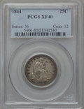 Seated Quarters: , 1844 25C XF40 PCGS. PCGS Population (7/54). NGC Census: (0/72).Mintage: 421,200. Numismedia Wsl. Price for problem free NG...