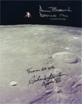 Autographs:Celebrities, Apollo 12 LM Descent Color Photo Signed by Bean and Gordon. ...