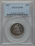 Seated Quarters: , 1847 25C XF40 PCGS. PCGS Population (8/58). NGC Census: (1/59).Mintage: 734,000. Numismedia Wsl. Price for problem free NG...