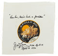Explorers:Space Exploration, James Lovell Signed Apollo 13 Beta Cloth Mission Insignia. ...