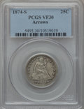Seated Quarters: , 1874-S 25C Arrows VF30 PCGS. PCGS Population (3/222). NGC Census:(0/146). Mintage: 392,000. Numismedia Wsl. Price for prob...