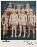 Autographs:Celebrities, Mercury Seven Astronauts: Color Photo Signed by Three. ...