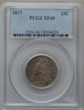 Seated Quarters: , 1877 25C XF40 PCGS. PCGS Population (11/363). NGC Census: (1/340).Mintage: 10,911,710. Numismedia Wsl. Price for problem f...