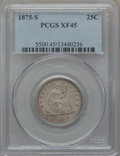 Seated Quarters: , 1875-S 25C XF45 PCGS. PCGS Population (4/68). NGC Census: (3/79).Mintage: 680,000. Numismedia Wsl. Price for problem free ...