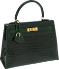 Luxury Accessories:Bags, Hermes 25cm Shiny Vert Emerald Porosus Crocodile Sellier Kelly Bagwith Gold Hardware. ...