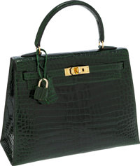 Hermes 25cm Shiny Vert Emerald Porosus Crocodile Sellier Kelly Bag with Gold Hardware