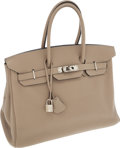 Luxury Accessories:Bags, Hermes 35cm Gris Tourterelle Togo Leather Birkin Bag with PalladiumHardware. ...