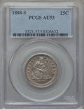 Seated Quarters: , 1888-S 25C AU53 PCGS. PCGS Population (4/94). NGC Census: (4/109).Mintage: 1,216,000. Numismedia Wsl. Price for problem fr...