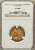 Indian Half Eagles: , 1913-S $5 AU58 NGC. NGC Census: (642/379). PCGS Population(178/302). Mintage: 408,000. Numismedia Wsl. Price for problem f...