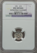 Three Cent Silver: , 1851 3CS -- Improperly Cleaned -- NGC Details. UNC. NGC Census:(1/1043). PCGS Population (18/1129). Mintage: 5,447,400. Nu...