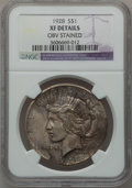 Peace Dollars: , 1928 $1 -- Obv Stained -- NGC Details. XF. NGC Census: (50/5844).PCGS Population (100/7871). Mintage: 360,649. Numismedia ...