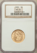 Liberty Half Eagles: , 1888 $5 MS62 NGC. NGC Census: (22/19). PCGS Population (44/30).Mintage: 18,296. Numismedia Wsl. Price for problem free NGC...