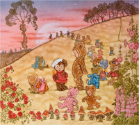 Michael Hague. Teddy Bears' Picnic book cover, circa 1992. Watercolor and ink on paper. Measures 11.5 x 12