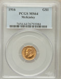 Commemorative Gold: , 1916 G$1 McKinley MS64 PCGS. PCGS Population (1381/1645). NGCCensus: (768/882). Mintage: 9,977. Numismedia Wsl. Price for ...