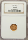 Gold Dollars: , 1867 G$1 MS60 NGC. NGC Census: (3/37). PCGS Population (3/42).Mintage: 5,250. Numismedia Wsl. Price for problem free NGC/P...