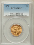 Three Dollar Gold Pieces: , 1878 $3 MS65 PCGS. PCGS Population (182/64). NGC Census: (124/42).Mintage: 82,304. Numismedia Wsl. Price for problem free ...