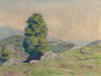 HORACE BROWN (American, 1876-1932) Hilly Landscape with Tree and Rocks (Manchester, Vermont) Oil on