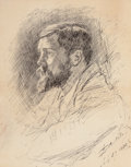 Fine Art - Work on Paper:Drawing, EDWIN AUSTIN ABBEY (American, 1852-1911). Portrait of AlfredParsons, R.A., 1886. Pen and ink on paper. 11-1/2 x 9-1/4 i...